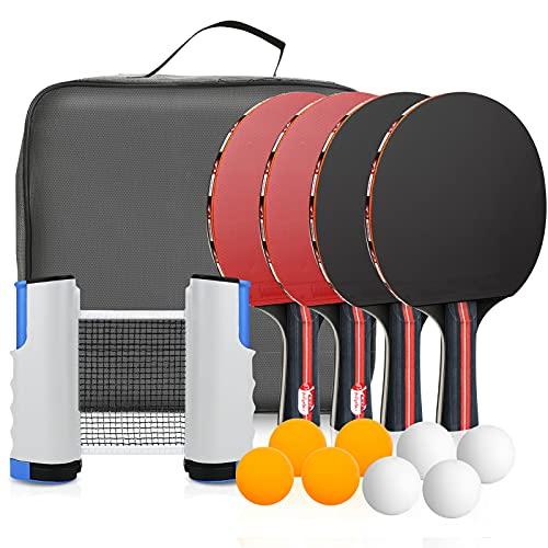 Sets de Ping Pong zerotop Raquetas de Tenis de Mesa, 4 Palas Ping Pong Tenis de Mesa + 8 Pelotas + 1 Mesa y Red de Ping Pong Retráctil, Raquetas Ping Pong,Tenis de Mesa para Interior y Al Aire Libre