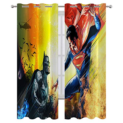 SSKJTC Thermal Insulated Blackout Curtains for Bedroom Batman Vs Superman Art Drapes for Kid's Room W72xL72 Inch