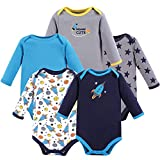 Luvable Friends Unisex Baby Cotton Long-Sleeve Bodysuits, Rocket, 9-12 Months