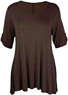 FAIRY TRENDZ LTD Womens Plus Size Scoop Neck Korte Mouw Uitlopende Dames Lange Plain Top 3/4 Turn Up Knop Mouw Shirt
