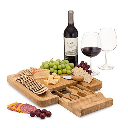 Bamboo Cheese Board Set With Cutlery In Slide-Out Drawer Including 4 Stainless Steel Knife and Serving Utensils