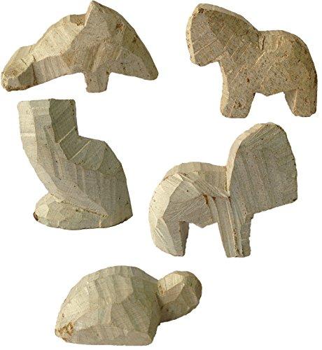 artdee 5 Speckstein Rohlinge, Tier Set 1 - Rohling - Delfin, Pferd, Eule, Elefant & Schildkröte