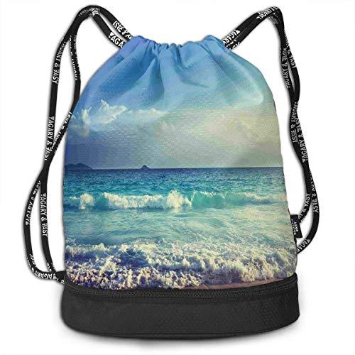 Harla Tropical Island Paradise Beach at Sunset Street Drawstring Bag Backpack Bundle Backpack Fashion