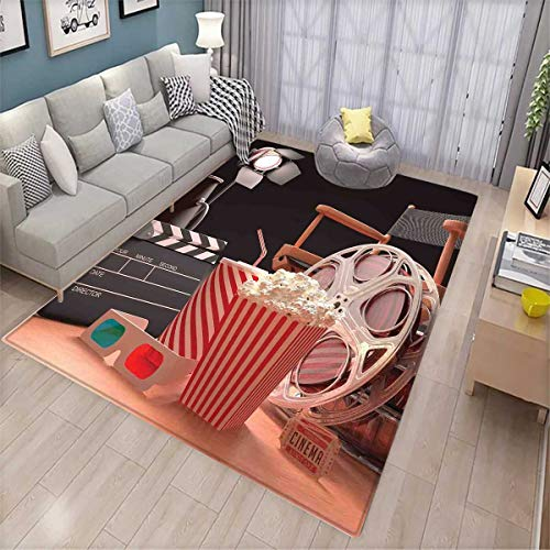 Movie Theater Area Rugs for Bedroom Objects of The Film Industry Hollywood Motion Picture Cinematography Concept Door Mats for Inside Multicolor 7'x5'