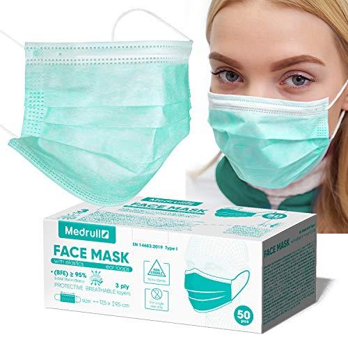 Medrull OP Maske CE zertifiziert EN 14683 medizinischer mundschutz (50 Stück), OP Masken zum, 3-lagig, mit elastischen Ohrschlaufen Mund und nasenschutz einweg…