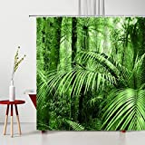 GermYan Ventana Exterior Paisaje de Primavera Cortina de Ducha Verde bambú Flores Planta Tropical Palm máquina Lavable Cortinas de decoración de baño