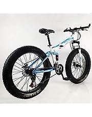Plegable Doble Amortiguación Velocidad Variable Freno De Disco Bicicleta De Montaña 26''24''Neumático De Grasa De Rueda Ancha 4.0 Bicicleta para Hombres Y Mujeres,Bicicleta De Nieve