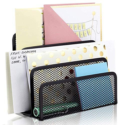 Schreibtisch Organisation ZeitschriftensammlerMetall Stehsammler Buchstütze Briefhalter mit 3 Fächern Zeitschriftenständer Buchständer für Arbeitzimmer Büro Wohnzimmer Arbeitsplatz