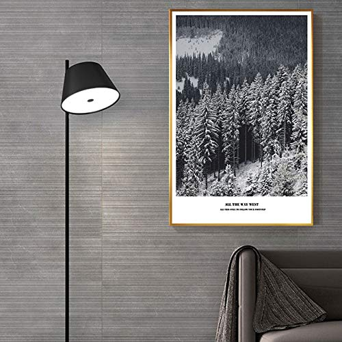 yaoxingfu Sin Marco Frozen Forest Snow Mountain Canvas ng Beautiful Journey View Poster para Sala de Estar Pasillo Entrada Nordic Wall Art Decor 30x45cm