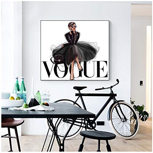 MULMF Mode Figur Poster und Drucke Vogue Wall Pop Art Malerei auf Leinwand Bild Home Decor- 60x60cm ohne Rahmen
