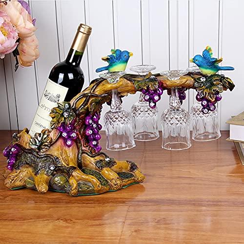 Vine Wine Rack Botellas individuales, uvas y árboles Encimitop Botellas de vino en forma de pájaro Botellas de vino, soporte de cristal de vino de resina colorida, organizador de almacenamiento de vin