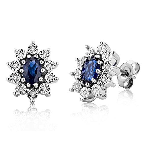 Miore Orecchini Argento Donna  Piccoli a  Lobo    Zaffiro Blu Diamanti taglio Brillante ct 0.05     Argento 925