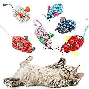 O-Kinee Juguetes para Gato, 6pcs Juguetes del Catnip, Gato Juguete Interactivo, Raton Juguete Gato, Juguete Catnip para Gatos, Peluche Ratones Multicolor, Hierba Gatera Juguete