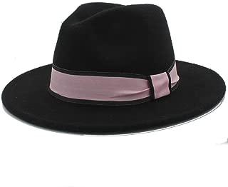SHENTIANWEI New Men Women Winter Fedora Hat with Pink Cloth Belt Panama Hat Wide Brim Church Fascinator Hat Travel Hat Size 56-58CM