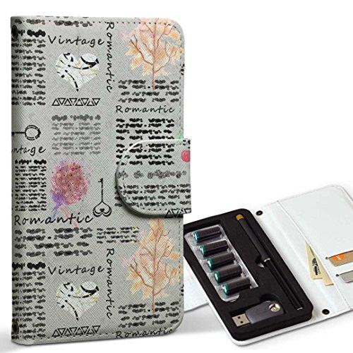 スマコレ ploom TECH プルームテック 専用 レザーケース 手帳型 タバコ ケース カバー 合皮 ケース カバー 収納 プルームケース デザイン 革 鍵 ビンテージ ハート 014548