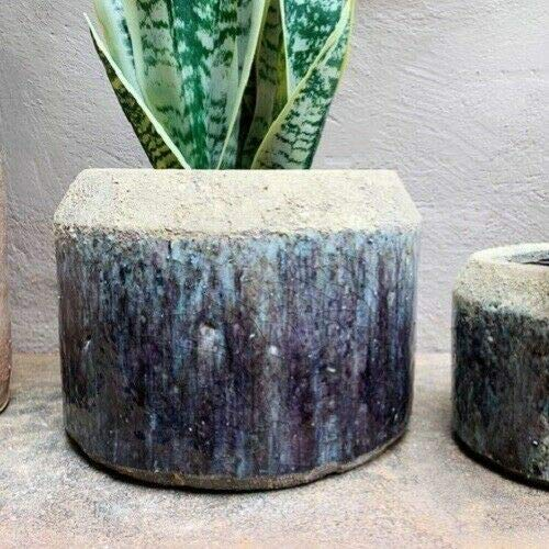 For Rustic Grey Blue Glazed Plant Pot Cover Planter Two Tone, 3 Sizes S,M,L - Terry Panami supplier for home & garden HOME DECORD - Size is Large