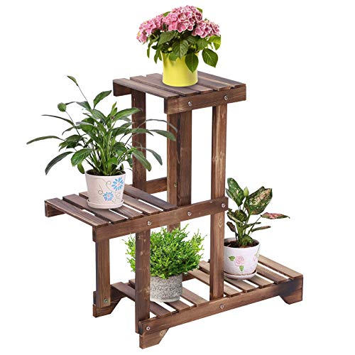 Carbonized Wooden Plant Stand, 3 Tier Floor-Standing Flower Plant Bonsai Display Stand Pot Shelf Storage Rack Holder for Indoor Outdoor Yard Garden Patio, 21.6 x 26.0in