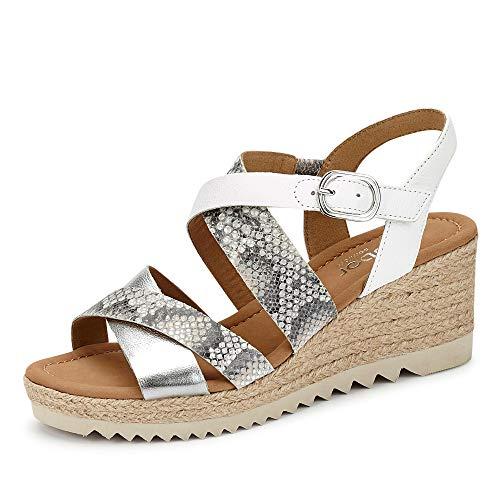 Gabor Talbot Womens Wedge Heel Espadrille Sandals 38.5 40 White LEA/Silver
