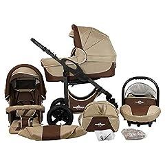 Alpiniste Capri poussette 3 en 1 poussette combinée Megaset 10 pièces avec coque pour bébé, baignoire pour bébé, voiture de sport et accessoires