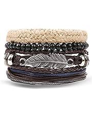 ASIG Fashion Charms Meerdere Lagen Uil Lederen Armband Mannen Vintage Klassieke Touw Ketting Wikkel Arm Armband Set Mannelijke Sieraden