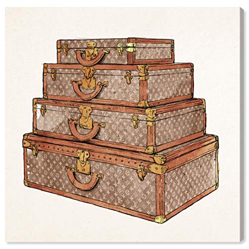 The Oliver Gal Artist Co. Fashion and Glam Wall Art Canvas Prints 'The Royal Luggage Brown' Home Décor, 43' x 43'