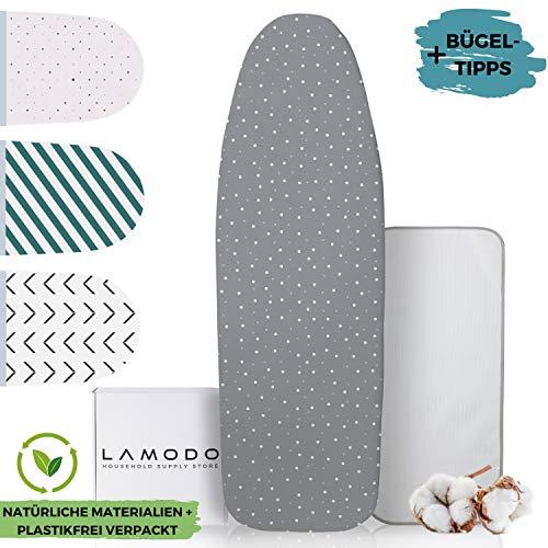 lamodo® - Bügelbrett-Bezug 120x40 für Dampfbügeleisen | 100% Baumwolle und Dicker Polsterung inkl. Bügeltuch | Gummizug und smartem Klettverschluss | inkl. GRATIS Bügeltipps