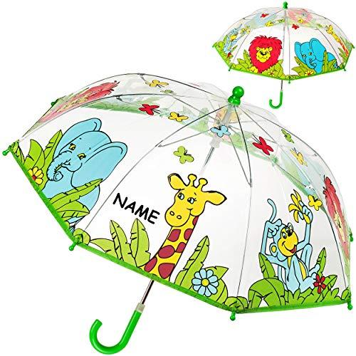 alles-meine.de GmbH Kinderschirm / Regenschirm - Zootiere & Dschungel Tiere - inkl. Name - Ø 70 cm - durchsichtig & durchscheinend - transparent - Kinder - Stockschirm - groß mit..