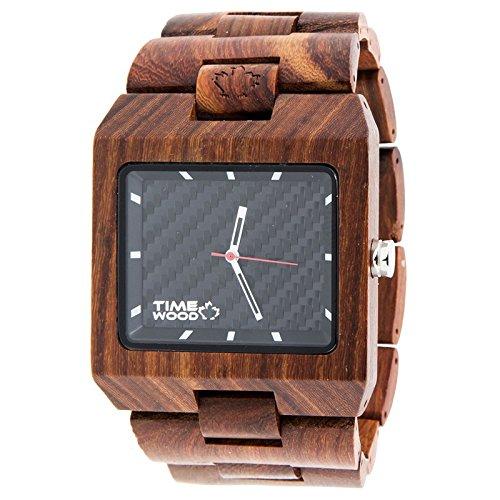 TIMEWOOD Terror Elegante Einzigartige Holzuhren mit Natural Handgefertigte Rot Uhrenarmband Unisex