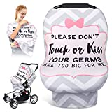 Car Seat Cover for Babies, No Touch Sign Warining Breastfeeding Scarf, Stretchy Infant Carseat Canopy, Multi Use Nursing Cover Up,Shopping Cart/High Chair/Stroller/Baby Seat Covers