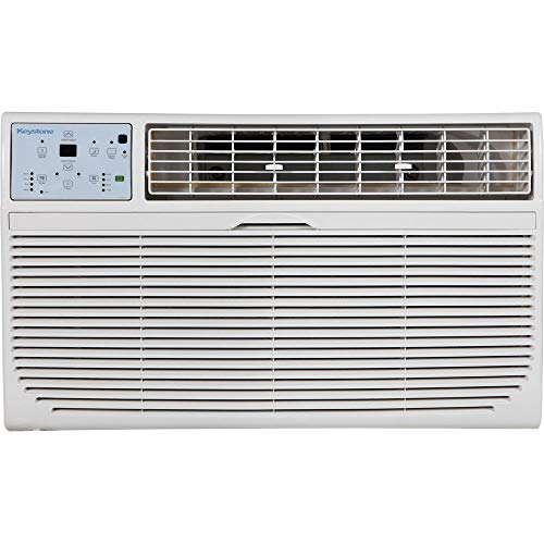 Keystone 14,000 BTU 230V Through-The-Wall Air Conditioner   10,600 BTU Supplemental Heating   LCD Remote Control   Sleep Mode   24H Timer   AC for Rooms up to 700 Sq. Ft.   KSTAT14-2HC