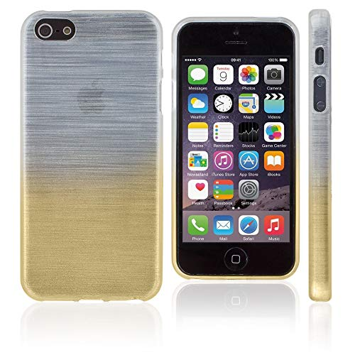 Xcessor Transition Flexible TPU Case with Gradient Silk Thread Texture for Apple iPhone SE/5/5S - Transparent/Golden