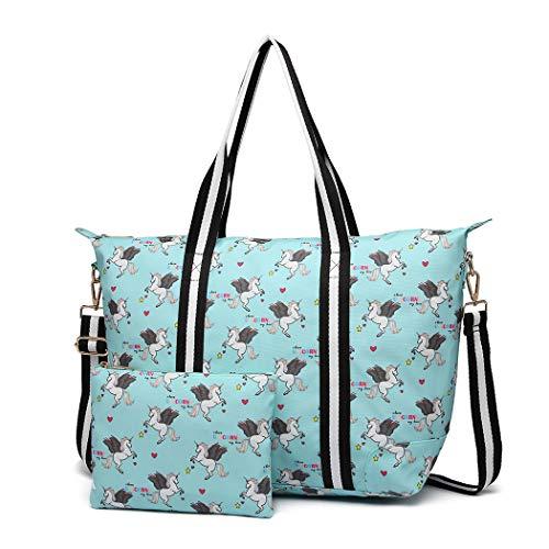 Miss Lulu Damen Vintage Canvas Shopper Handtasche Set 2 Stücke Schultertasche Einkaufstasche mit...