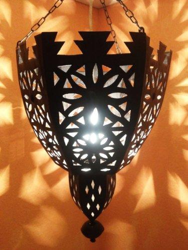 Orientalische Lampe Pendelleuchte Schwarz Frana E27 Lampenfassung | Marokkanische Design Hängeleuchte Leuchte aus Marokko | Orient Lampen für Wohnzimmer, Küche oder Hängend über den Esstisch