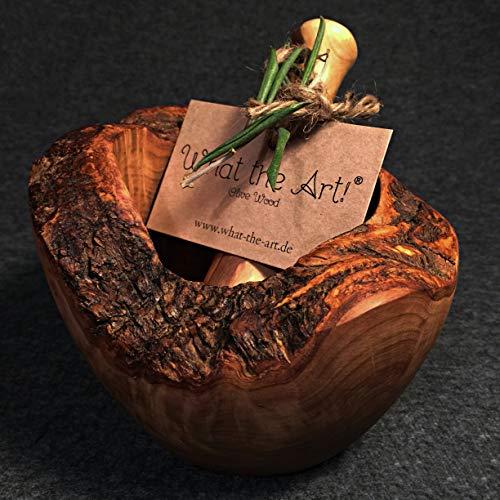 What the Art!® Olive Wood «Le Mortier» Gr. M | Olivenholz Mörser inkl. Stößel + Geschenk | ca. Ø 12 x ↑ 7-9 cm | Gewürzmörser - Kräutermörser - Küchenmörser - Stampfer - Mortar