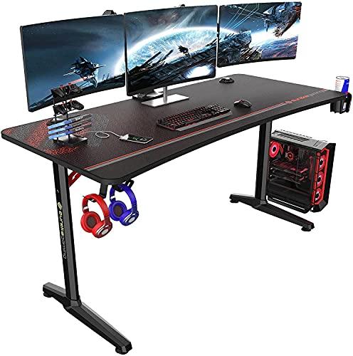 EUREKA ERGONOMIC Metal Polygon Legs Design, Captain Series Gaming Home Office Computer Desk, Black, 60 Inch
