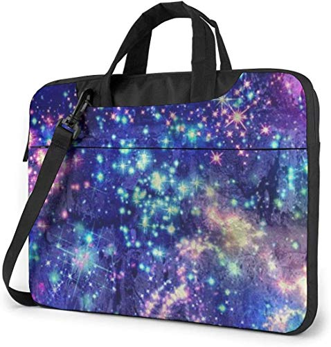 Maletín Funda para Ordenador Portátil Estrellas Coloridas de la Galaxia Bling Bling Portadocumentos Maletines y Bolso Bandolera para Portátil 13/14/15.6 Pulgadas