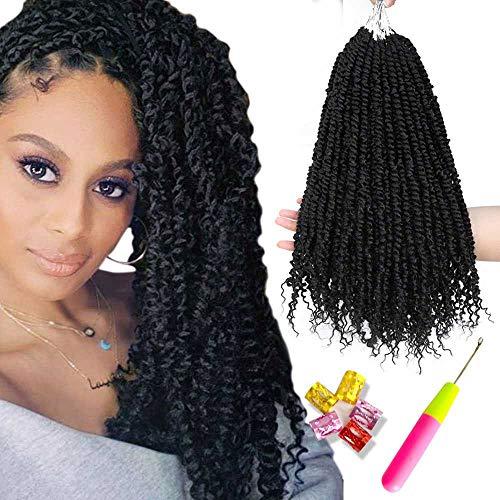 6 Packs Pretwisted Passion Twist Hair Crochet Braids Pre Twisted Passion Twist Crochet Hair Black Pre Looped Bohemian Braiding Hair Befunny Synthetic Crochet Twist Hair Extensions(18inch,1B#)