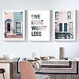 Cuadro sobre lienzo de color rosa industrial abstracto edificio pintura nórdico carteles e impresiones decoración de sala moderna arte de pared cartel-40x60cm sin marco