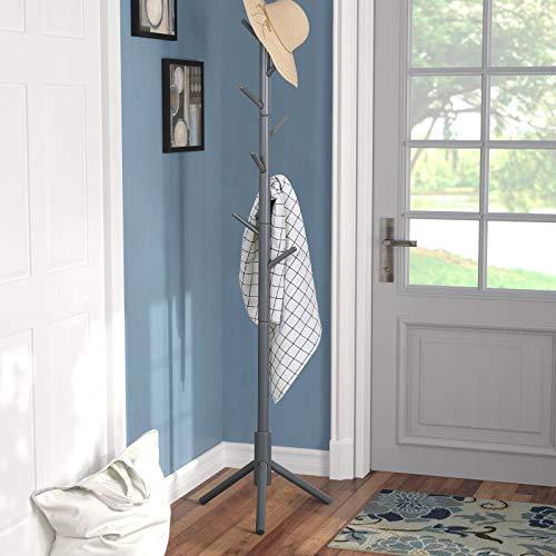 Vlush Garderobenständer, Garderobe, freistehend, Gummiholz, 8 Kleiderhaken,Stabil,47×40×175cm (Grau)