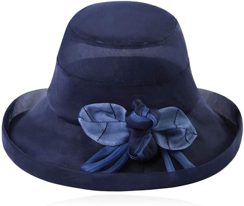 Beach Cap Straw Hat Women's Summer Sunhat Foldable Width Brim Seaside Travel Floppy Silk (color   B)