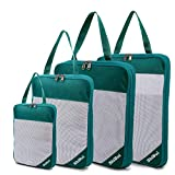 SHIBUI Compression Packing Cubes Fabric Travel Organizer Small Medium Large 4pcs (Sea Green)