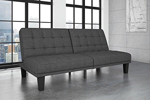 DHP Dexter Futon and Recliner Lounger, Multi-Functional Sofa for Small Spaces, Grey Linen