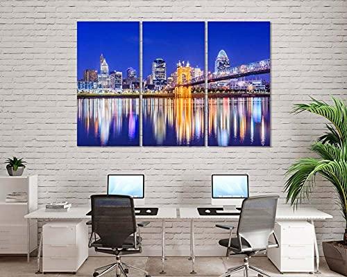 QUANQUAN Stampe e Quadri su Tela Quadri su Tela Arte murale Stampe HD Immagini 3 Pezzi Paesaggio Urbano Notturno a Cincinnati Ohio River Bridge Poster per Soggiorno Decorazioni per la casa modulari