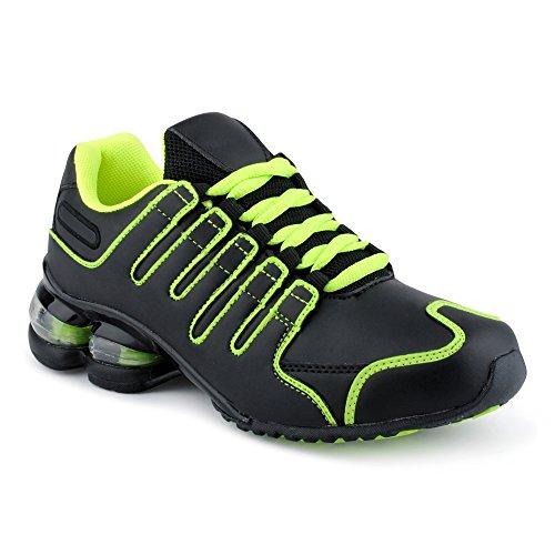 Fusskleidung Herren Damen Sportschuhe Dämpfung Neon Laufschuhe Gym Sneaker Unisex Schwarz Grün EU 38