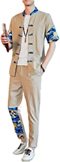 Coolred Men Stand Collar Slim-Fit Chinese Style Half Sleeve Splicing Sweatsuit Set