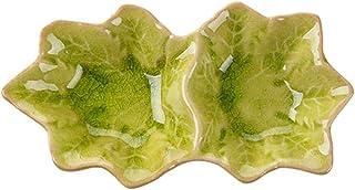 小皿 陶器 紅葉の形 醤油皿 15*5.5cm ころがす アイスクラック 格を分ける 2コマ ねおき スナック 薬味皿 取り皿 小さい 小さめ おしゃれ 和食器 かわいい 家庭用 レストラン用 調味料皿 (グリーン)
