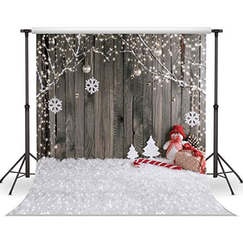 LYWYGG 10X10FT Fondo de Navidad Contexto de Navidad Fondo de Nieve Foto de Fondo Fondos de Pared de Madera Fotografía para niños CP-70-1010