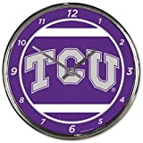 NCAA TCU Horned Frog WinCraft Official Chrome Clock