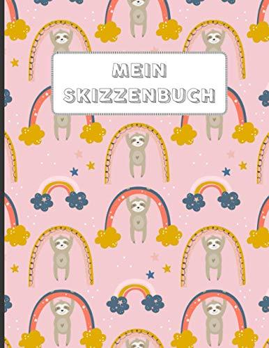 Skizzenbuch für Kinder: A4 Blanko 112 leere Seiten | Kreativheft zum Zeichnen, Malen und Skizzieren für Mädchen | schönes Geschenk | Zeichenheft Faultier rosa