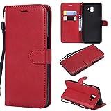 Artfeel Flip Brieftasche Hülle für Samsung Galaxy J6 Plus/J6 Prime, PU Leder Handyhülle mit Kartenhalter,Retro Bookstyle Stand Abdeckung mit Magnetverschluss Handschlaufe Schutzhülle-Rot